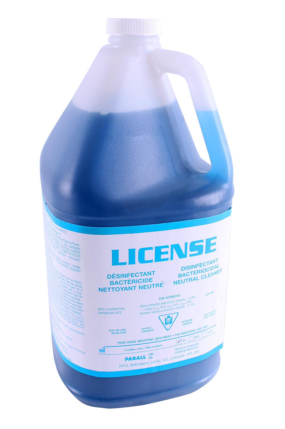 Licence – Nettoyant désinfectante neutre biquaternaire 5e génération